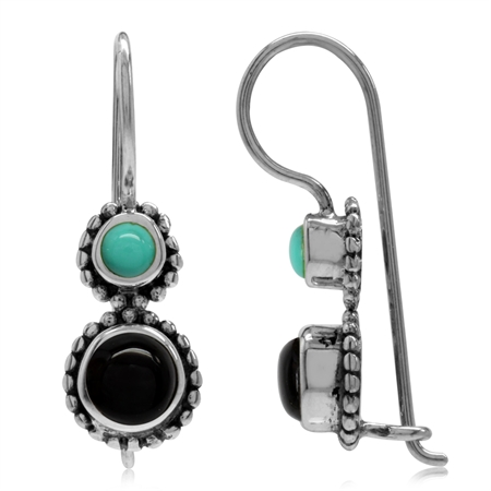 Created Black Onyx & Green Turquoise 925 Sterling Silver Bali/Balinese Style Hook Earrings
