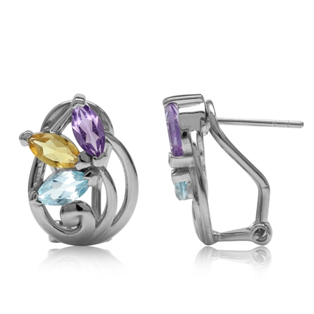 Natural Amethyst, Citrine&Blue Topaz 925 Sterling Silver Victorian Style Flower Omega Clip Earrings