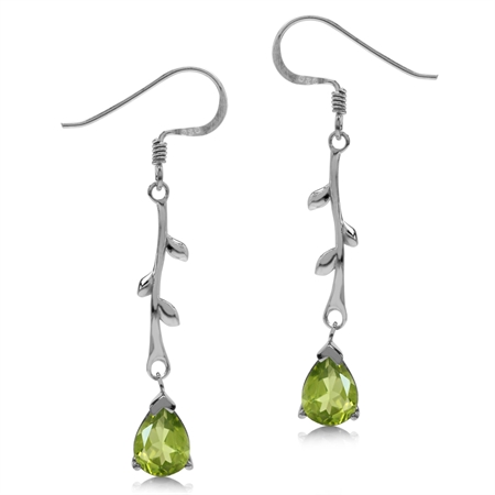2.32ct. Natural Peridot White Gold Plated 925 Sterling Silver Vine Leaf Dangle Hook Earrings