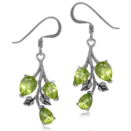 5.52ct. Natural Peridot 925 Sterling Silver Leaf Dangle Hook Earrings