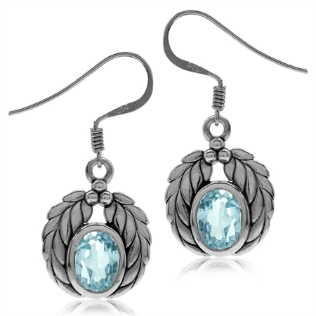 3.04ct. Genuine Blue Topaz 925 Sterling Silver Leaf Dangle Hook Earrings