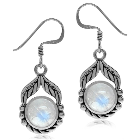 Natural Moonstone 925 Sterling Silver Leaf & Rope Dangle Hook Earrings