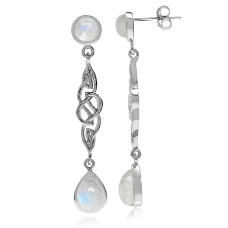 Natural Moonstone White Gold Plated 925 Sterling Silver Celtic Knot Dangle Post Earrings