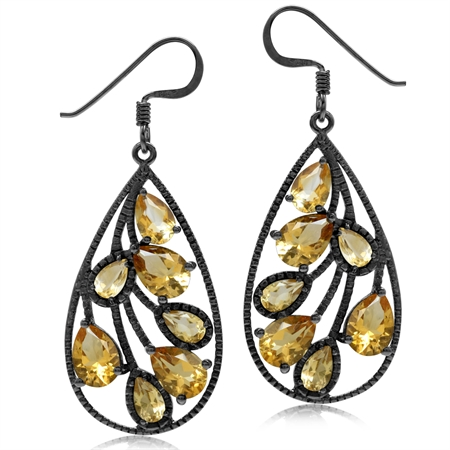 5.62ct. Natural Citrine Black Rhodium Plated 925 Sterling Silver Drop Dangle Earrings