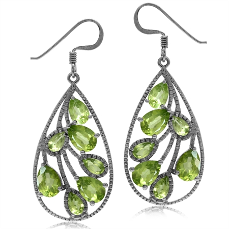 6.36ct. Natural Peridot White Gold Plated 925 Sterling Silver Drop Dangle Earrings