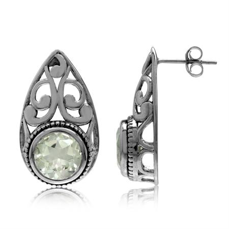 4.28ct. Natural Green Amethyst 925 Sterling Silver Filigree Swirl Drop Shape Post Earrings