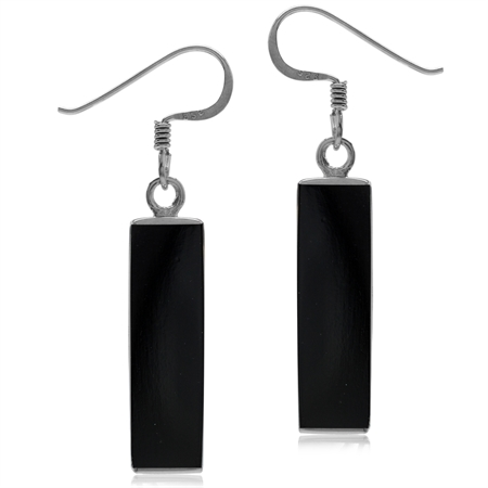 Long Black Created Onyx White Gold Plated 925 Sterling Silver Dangle Hook Earrings