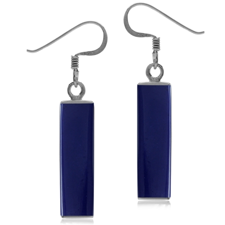 Long Created Blue Lapis White Gold Plated 925 Sterling Silver Dangle Hook Earrings
