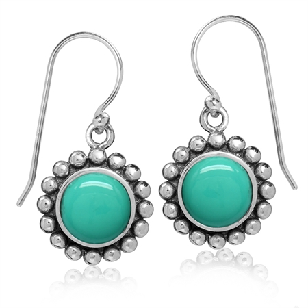 8MM Created Green Turquoise 925 Sterling Silver Bali/Balinese Style Dangle Hook Earrings