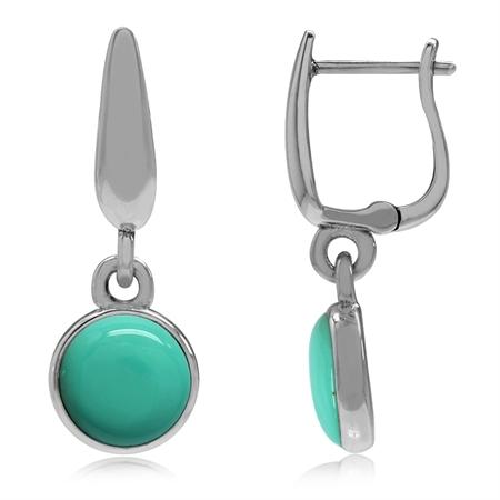925 Sterling Silver Huggie Hoop Earrings w/ Created Green Turquoise Dangle Drop