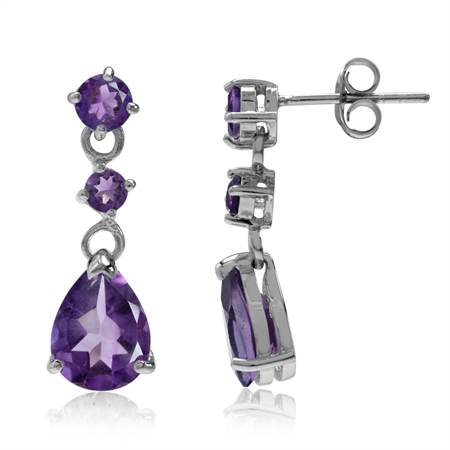 3.52ct. Natural African Amethyst 925 Sterling Silver Drop Dangle Post Earrings