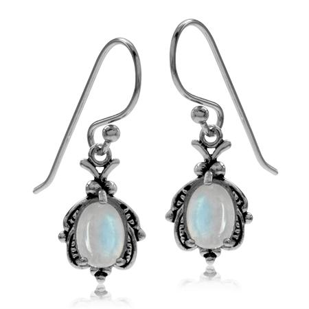 Natural Moonstone 925 Sterling Silver Bug Dangle Hook Earrings