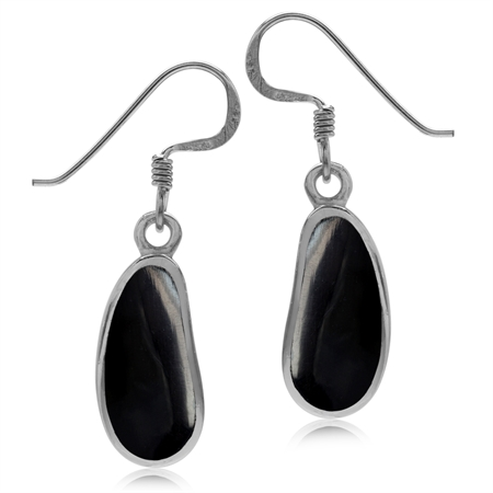 Created Black Onyx Inlay White Gold Plated 925 Sterling Silver Drop Dangle Hook Earrings