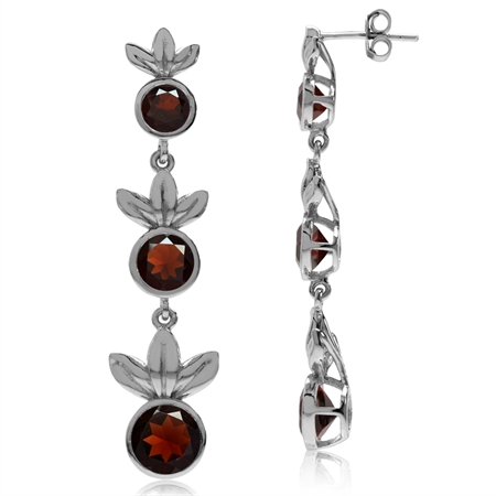 6.36ct. 3-Stone Natural Round Shape Garnet 925 Sterling Silver Graduated Leaf Dangle Post Earrings