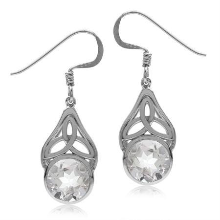 3.6ct. Natural White Quartz 925 Sterling Silver Triquetra Celtic Knot Dangle Hook Earrings