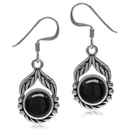 Created Black Onyx 925 Sterling Silver Leaf & Rope Dangle Hook Earrings
