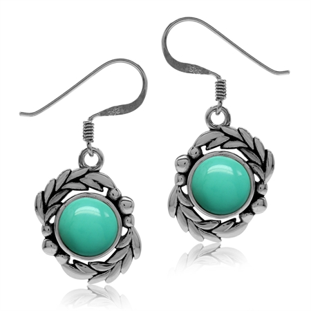 Created Green Turquoise 925 Sterling Silver Leaf Dangle Hook Earrings