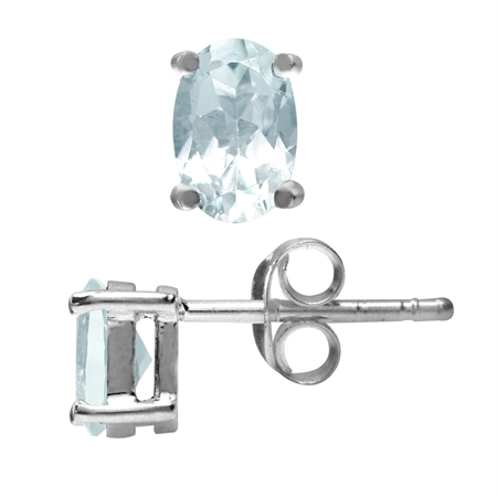 6x4MM Petite Genuine Oval Shape Blue Aquamarine White Gold Plated 925 Sterling Silver Stud Earrings