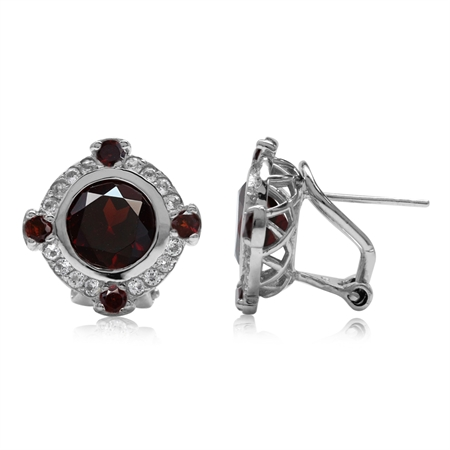 5ct. Natural Round Shape Garnet Gold Plated 925 Sterling Silver Omega Clip Post Earrings