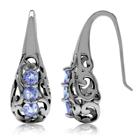 3-Stone Genuine Tanzanite 925 Sterling Silver Victorian Style Hook Earrings