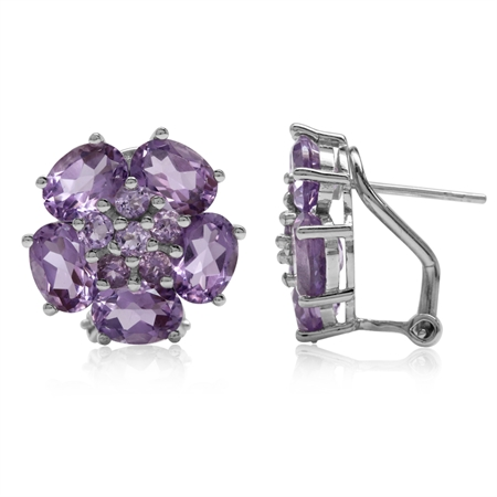 8.32ct. Natural Amethyst White Gold Plated 925 Sterling Silver Flower Cluster Omega Clip Earrings