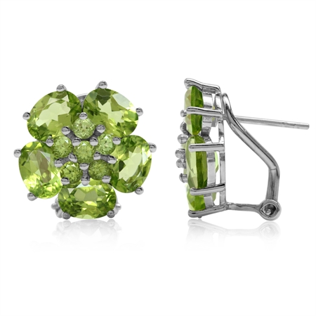 9.74ct Natural Peridot White Gold Plated 925 Sterling Silver Flower Cluster Omega Clip Post Earrings