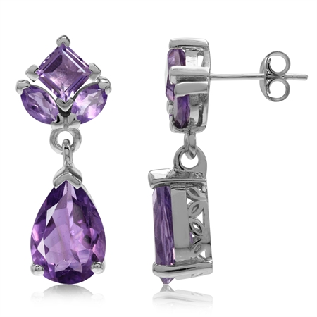 6.28ct. Natural Amethyst White Gold Plated 925 Sterling Silver Drop Dangle Post Earrings