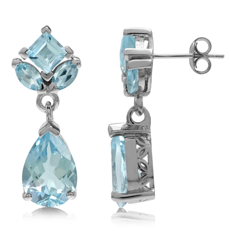 9.8ct. Genuine Blue Topaz White Gold Plated 925 Sterling Silver Drop Dangle Post Earrings