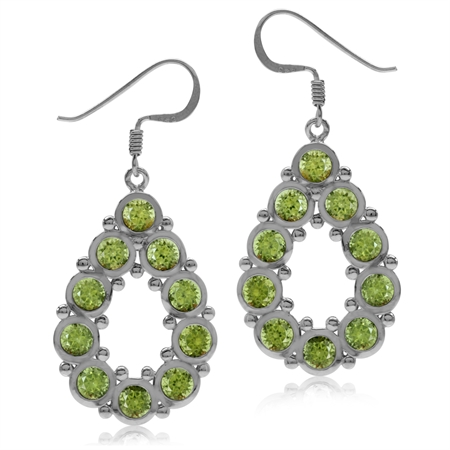 6ct. Natural Peridot White Gold Plated 925 Sterling Silver Drop Dangle Hook Earrings