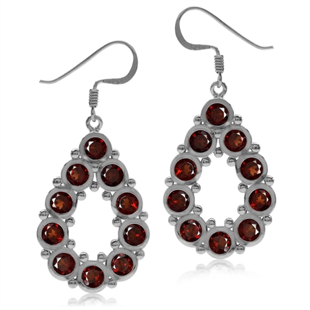 6.6ct. Natural Garnet White Gold Plated 925 Sterling Silver Drop Dangle Hook Earrings