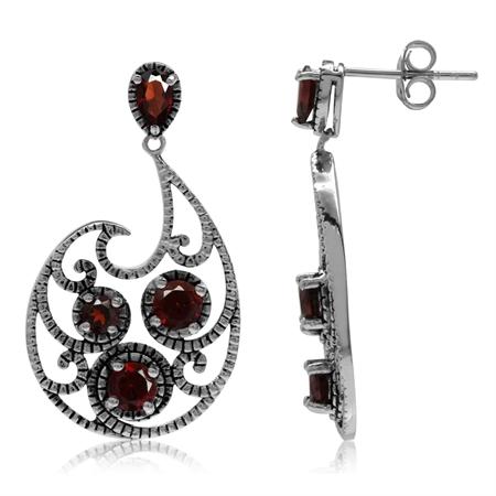 2.18ct. Natural Garnet 925 Sterling Silver Swirl Dangle Post Earrings