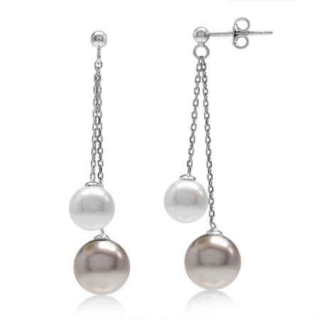 Double Bronze & White Imitation Pearl 925 Sterling Silver Dangling Chain Post Earrings
