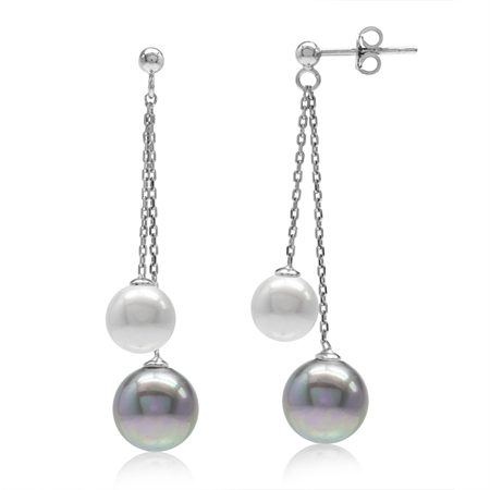 Double Gray & White Imitation Pearl 925 Sterling Silver Dangling Chain Post Earrings