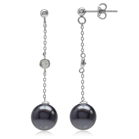 Black Imitation Pearl & White CZ 925 Sterling Silver Dangling Chain Post Earrings