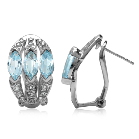 4.14ct. 3-Stone Genuine Marquise Shape Blue Topaz 925 Sterling Silver Omega Clip Post Earrings