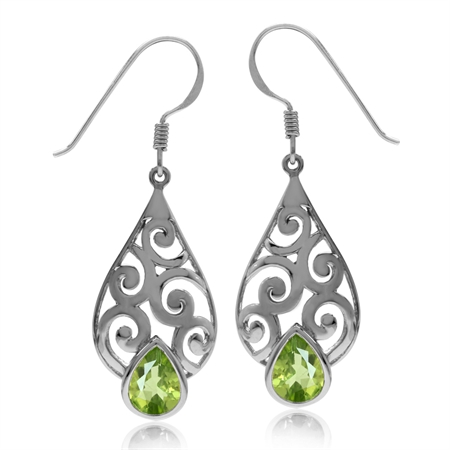 2.32ct Natural Peridot Gold Plated 925 Sterling Silver Filigree Swirl & Spiral Drop Dangle Earrings