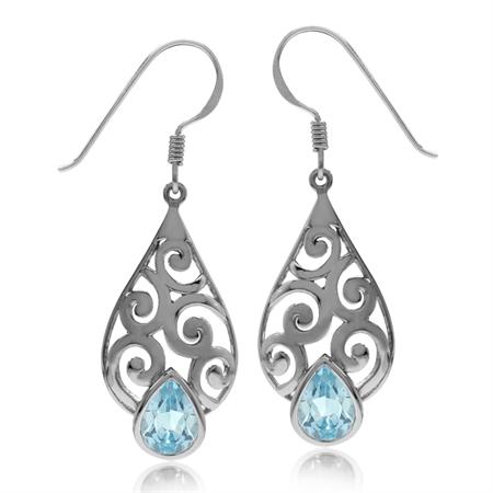 2.62ct Genuine Blue Topaz 925 Sterling Silver Filigree Swirl & Spiral Drop Dangle Hook Earrings