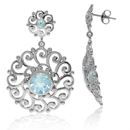 5.42ct. Genuine Blue Topaz 925 Sterling Silver Swirl & Spiral Round Disc Shape Dangle Post Earrings