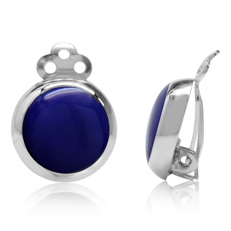 Created Blue Lapis 925 Sterling Silver 14MM Round Disc Shape Clip-on Earrings
