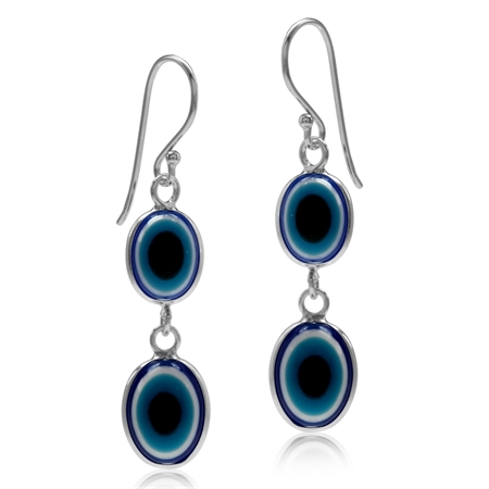 Multicolor Resin 925 Sterling Silver Evil Eye Dangle Hook Earrings