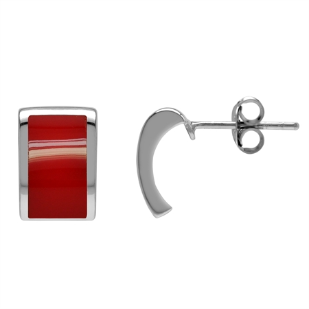 Created Red Coral Inlay White Gold Plated 925 Sterling Silver Post Earrings