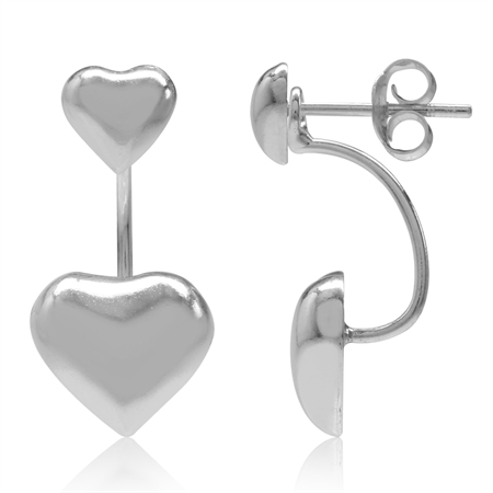 Heart 925 Sterling Silver 2-Way Stud & Ear Jacket Earrings