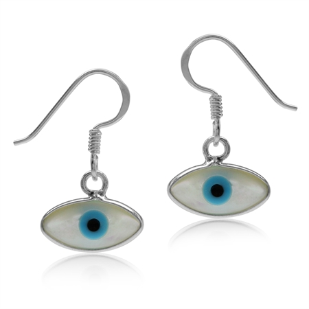 White Mother Of Pearl 925 Sterling Silver Evil Eye Marquise Shape Dangle Hook Earrings