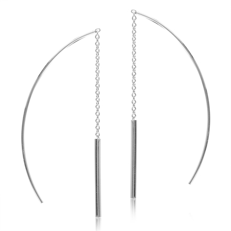 White Gold Plated 925 Sterling Silver Stick Threader Earrings