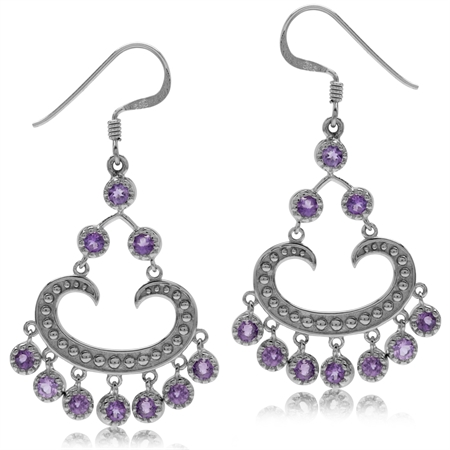2.2ct. Natural Amethyst White Gold Plated 925 Sterling Silver Chandelier Earrings