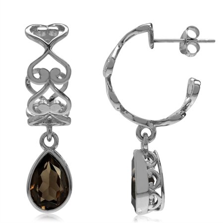 3.96ct. Natural Smoky Quartz 925 Sterling Silver Heart Victorian Style C-Hoop Dangle Earrings