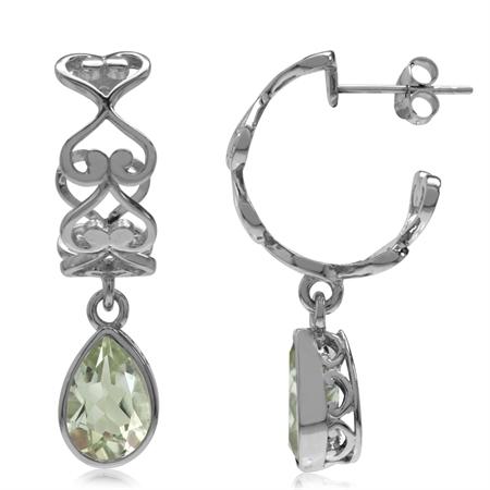 3.1ct. Natural Green Amethyst 925 Sterling Silver Heart Victorian Style C-Hoop Dangle Earrings