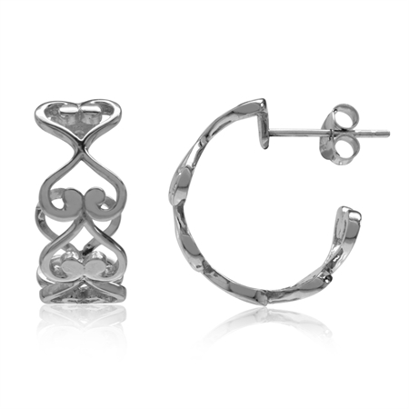 White Gold Plated 925 Sterling Silver Heart Victorian Style C-Hoop Earrings
