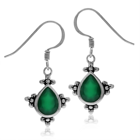 2ct. Natural Emerald Green Agate 925 Sterling Silver Flower Dangle Hook Earrings