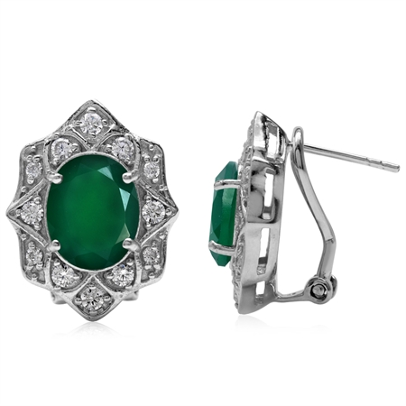 4.64ct. Natural Emerald Green Agate Gold Plated 925 Sterling Silver Flower Omega Clip Post Earrings